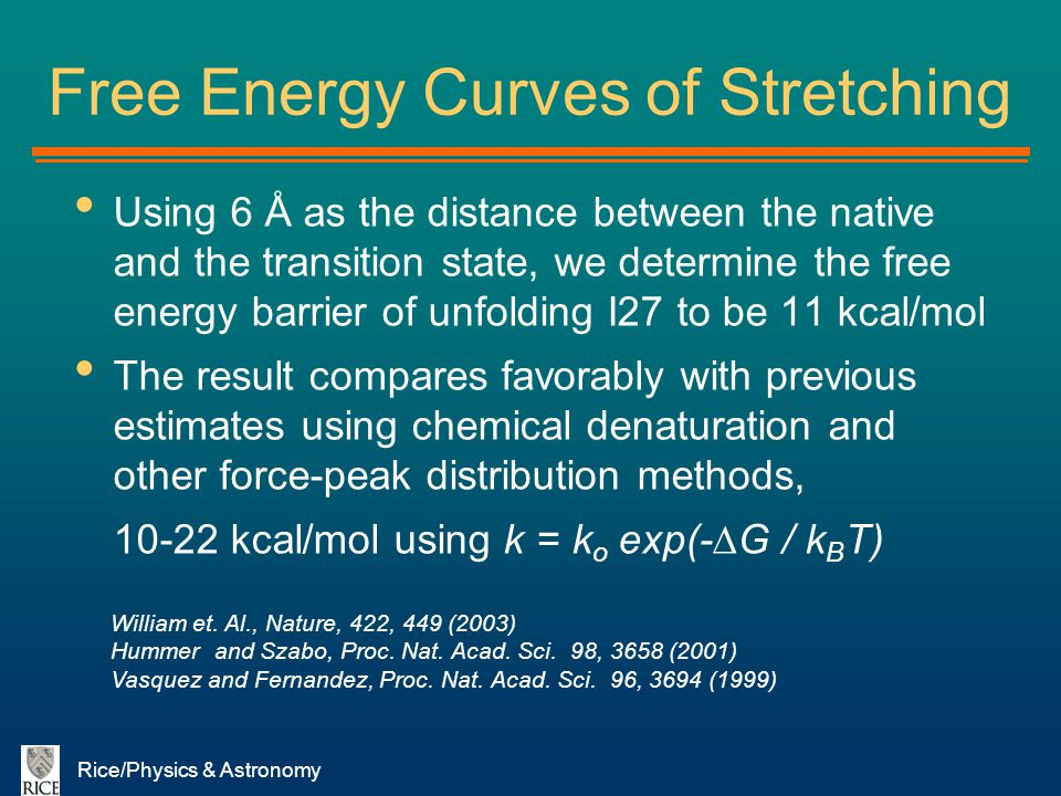 Free Energy Curves of Stretching