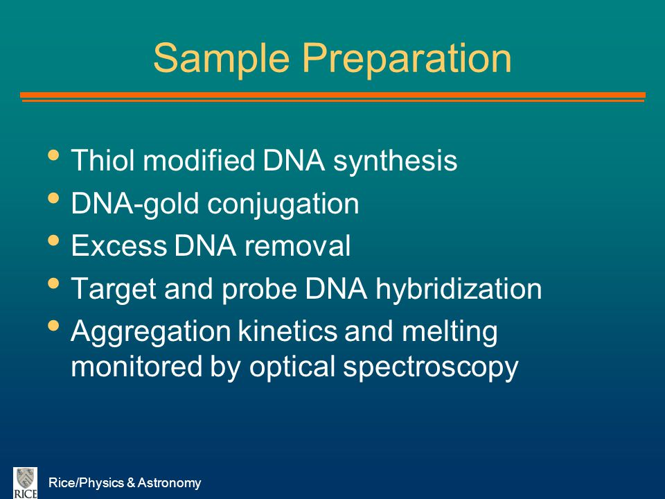 Sample Preparation Thiol modified DNA synthesis DNA-gold conjugation