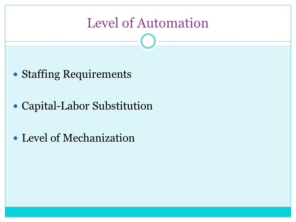 Level of Automation Staffing Requirements Capital-Labor Substitution