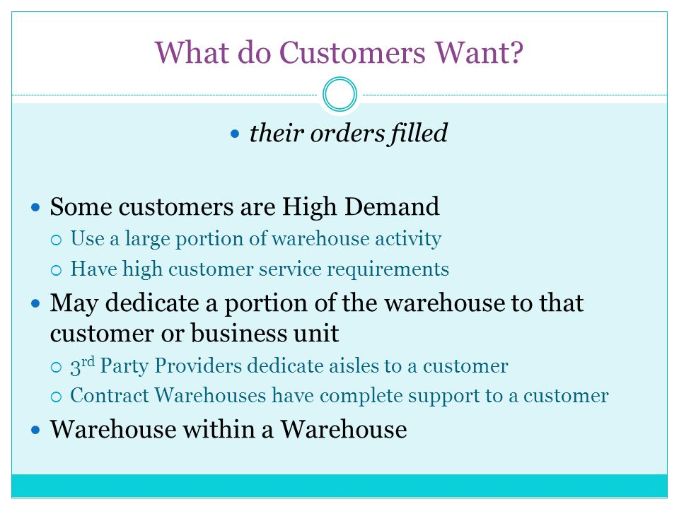 What do Customers Want their orders filled