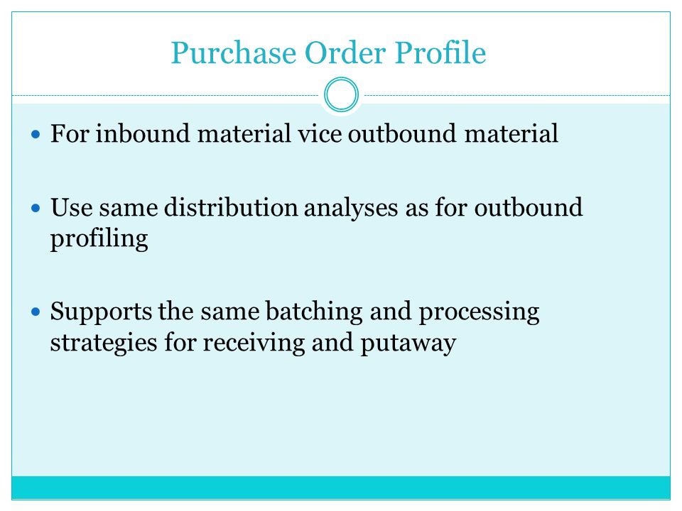 Purchase Order Profile