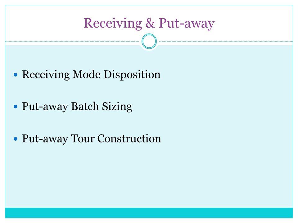 Receiving & Put-away Receiving Mode Disposition Put-away Batch Sizing