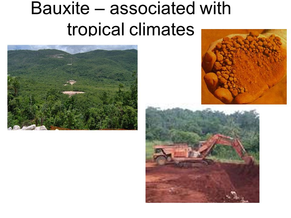 Bauxite – associated with tropical climates