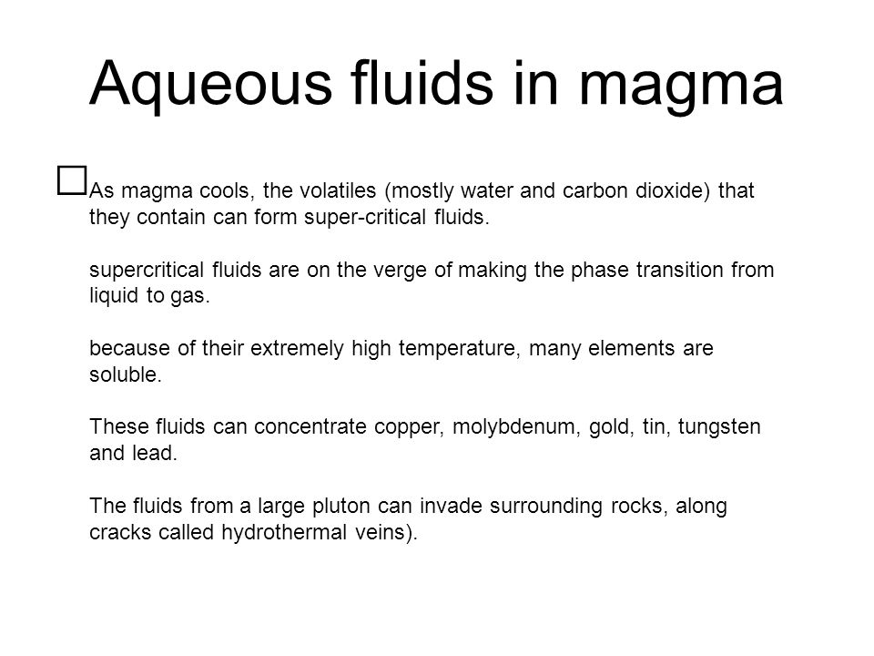 Aqueous fluids in magma