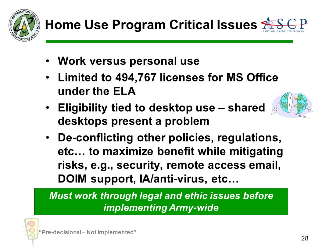 Home Use Program Critical Issues
