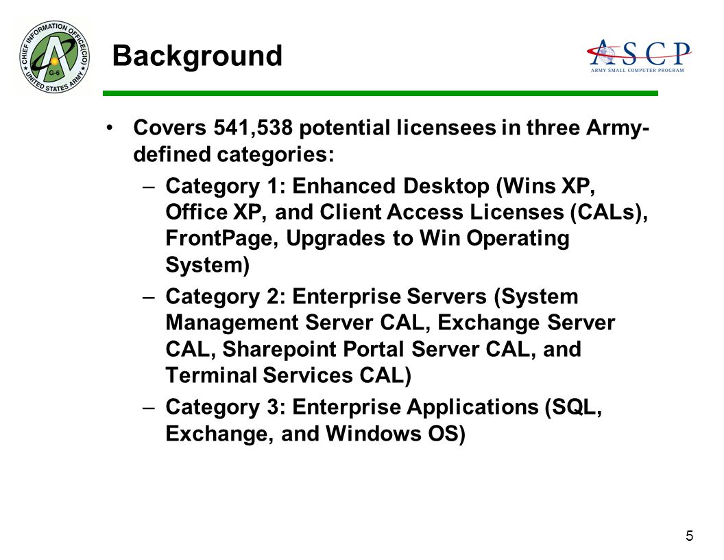 Background Covers 541,538 potential licensees in three Army-defined categories: