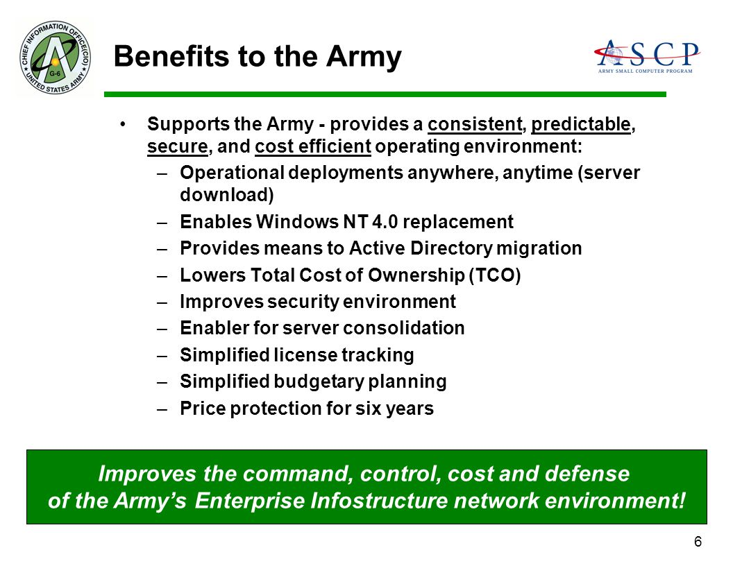 Benefits to the Army Improves the command, control, cost and defense