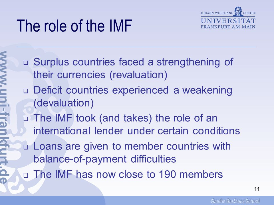 The role of the IMF Surplus countries faced a strengthening of their currencies (revaluation)