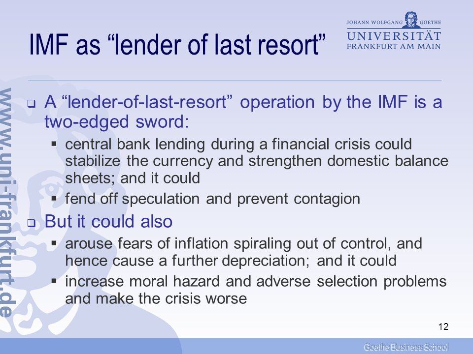 IMF as lender of last resort
