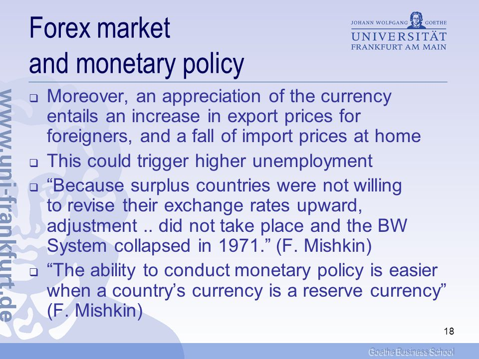 Forex market and monetary policy
