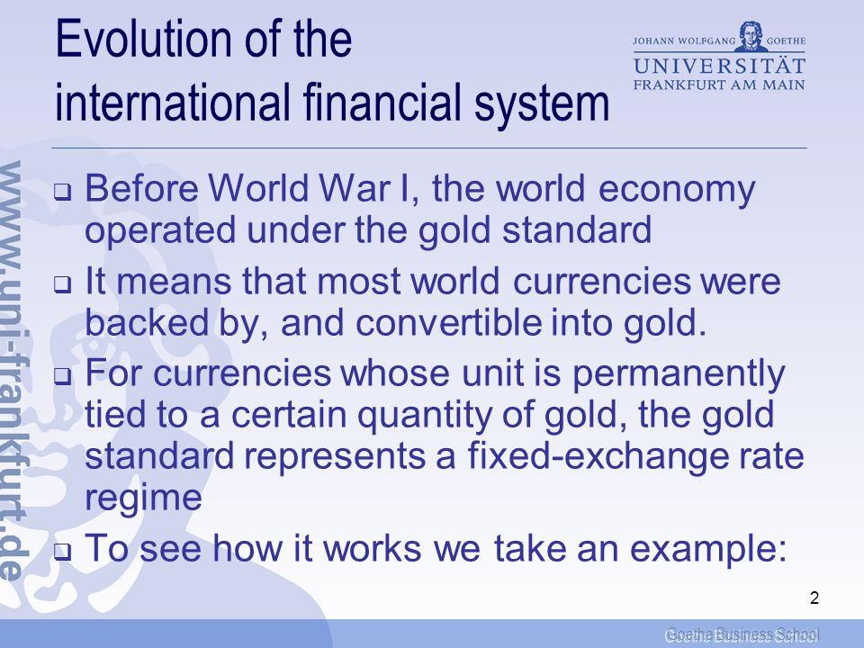 Evolution of the international financial system