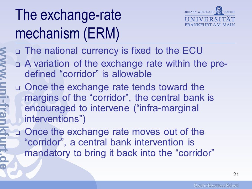 The exchange-rate mechanism (ERM)