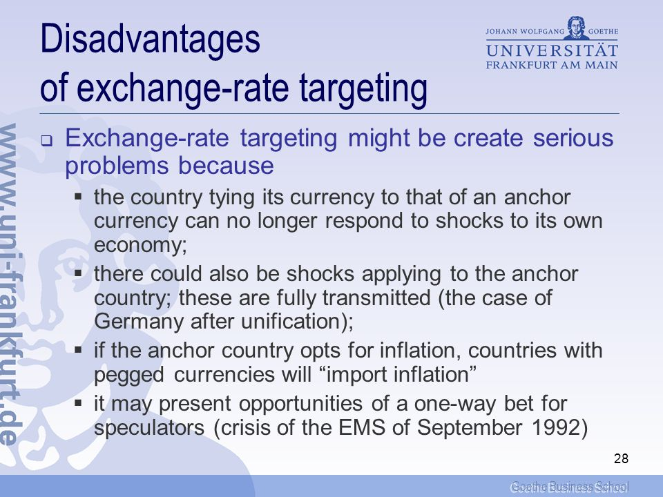 Disadvantages of exchange-rate targeting