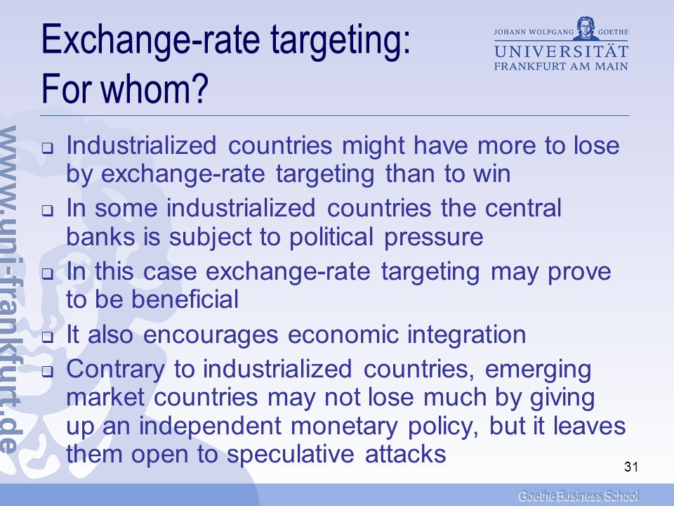 Exchange-rate targeting: For whom
