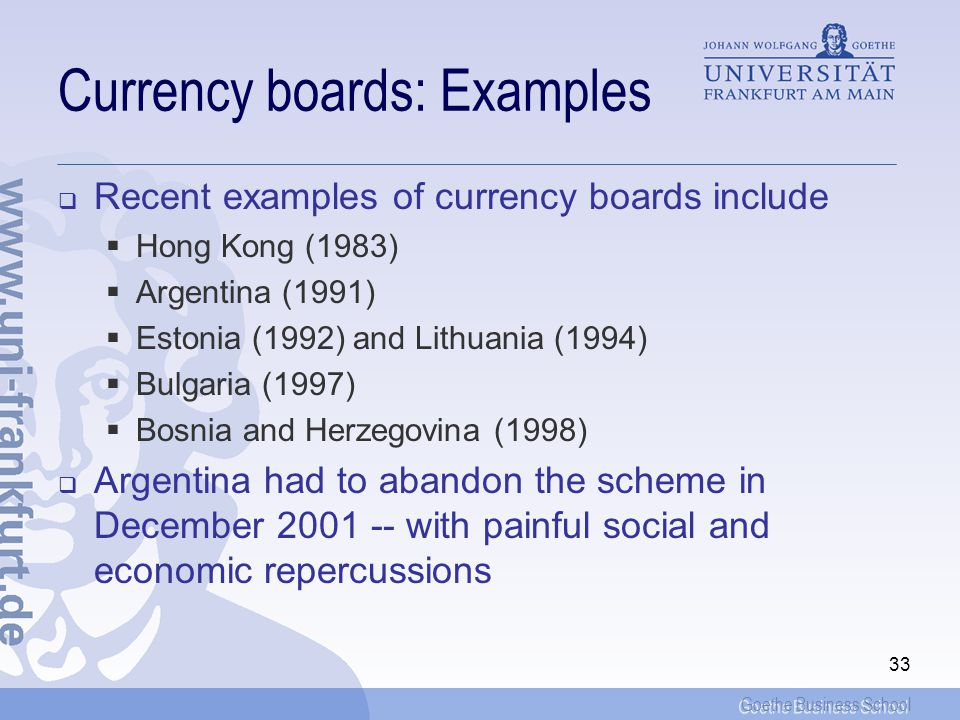 Currency boards: Examples