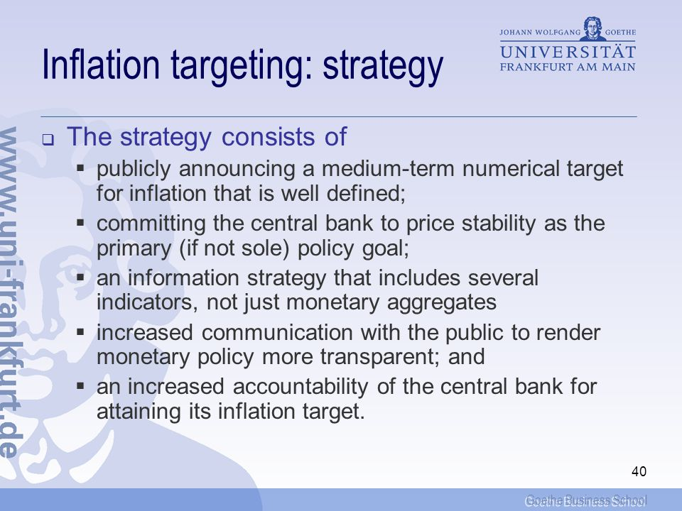 Inflation targeting: strategy