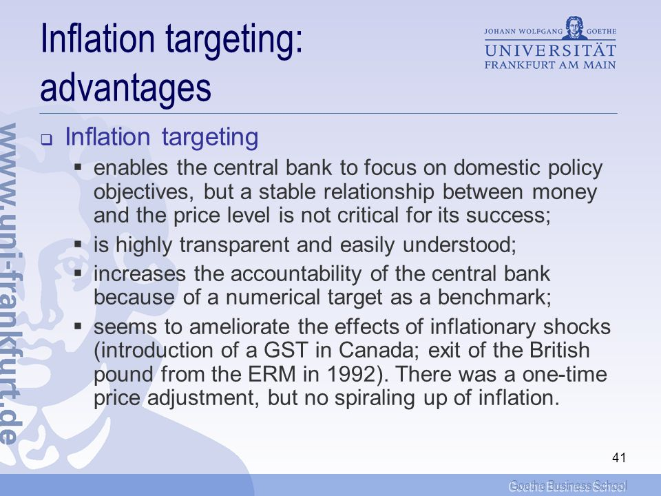 Inflation targeting: advantages