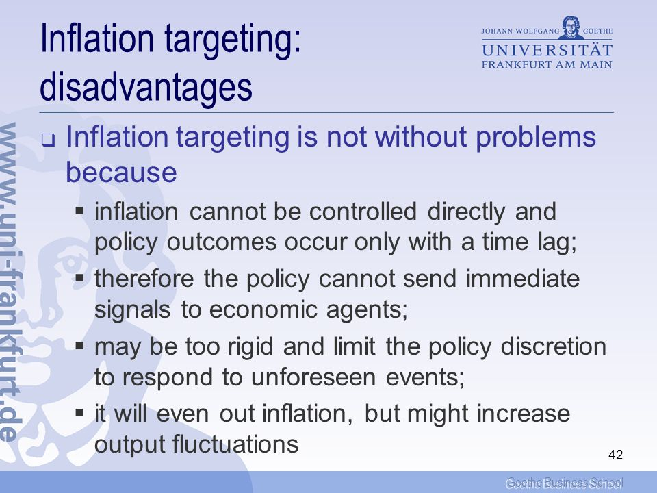 Inflation targeting: disadvantages