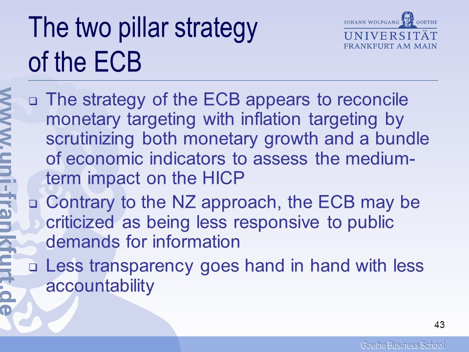 The two pillar strategy of the ECB