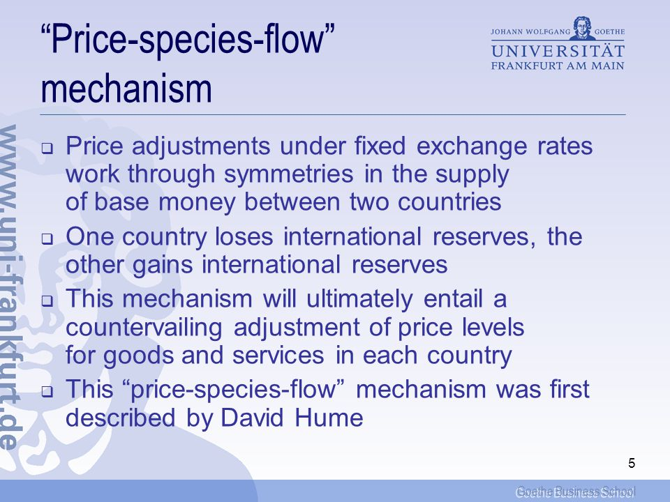 Price-species-flow mechanism