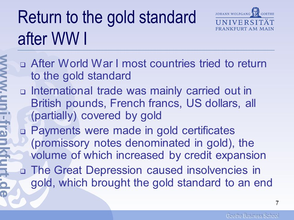 Return to the gold standard after WW I