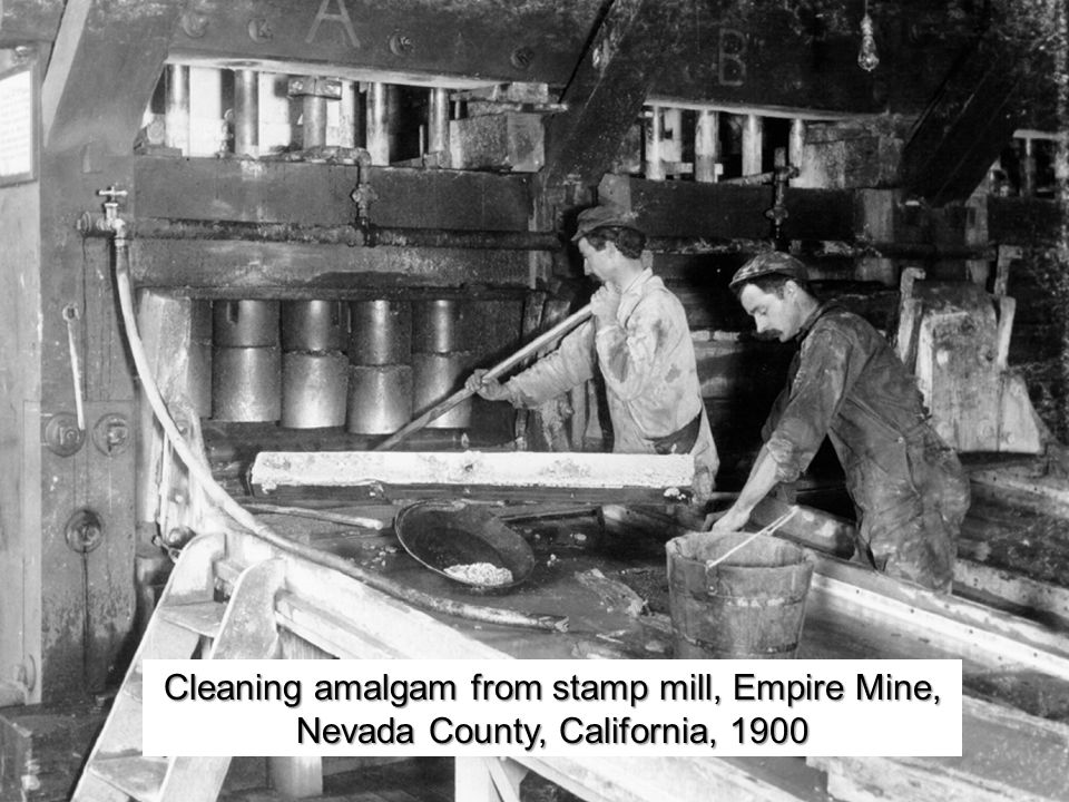 Cleaning amalgam from stamp mill, Empire Mine, Nevada County, California, 1900