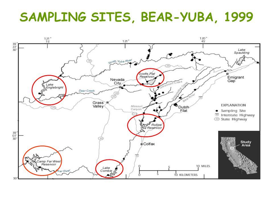 SAMPLING SITES, BEAR-YUBA, 1999