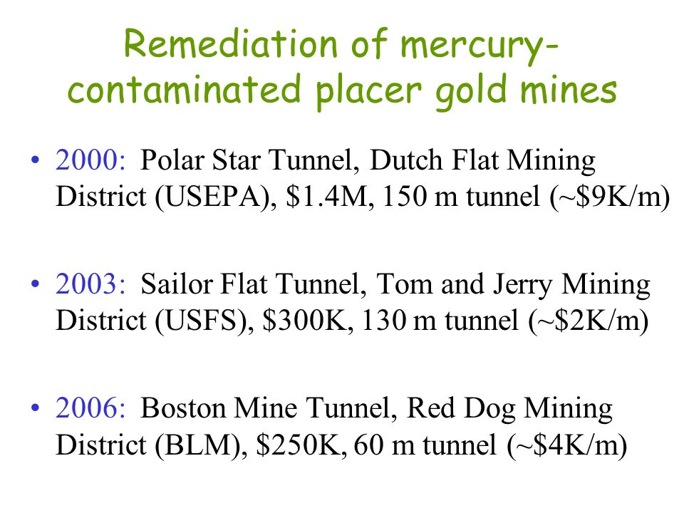 Remediation of mercury-contaminated placer gold mines
