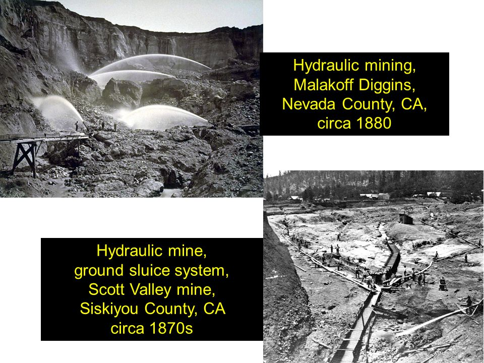 Hydraulic mining, Malakoff Diggins, Nevada County, CA, circa 1880