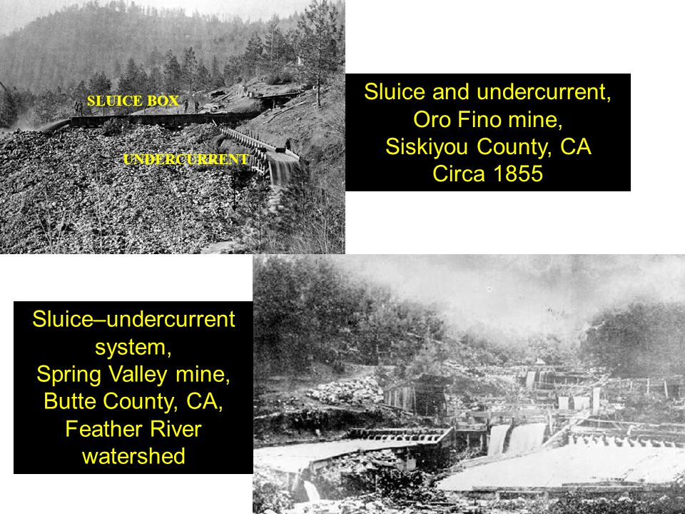 Sluice and undercurrent, Oro Fino mine, Siskiyou County, CA Circa 1855
