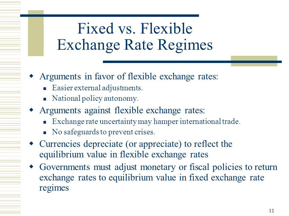 Fixed vs. Flexible Exchange Rate Regimes