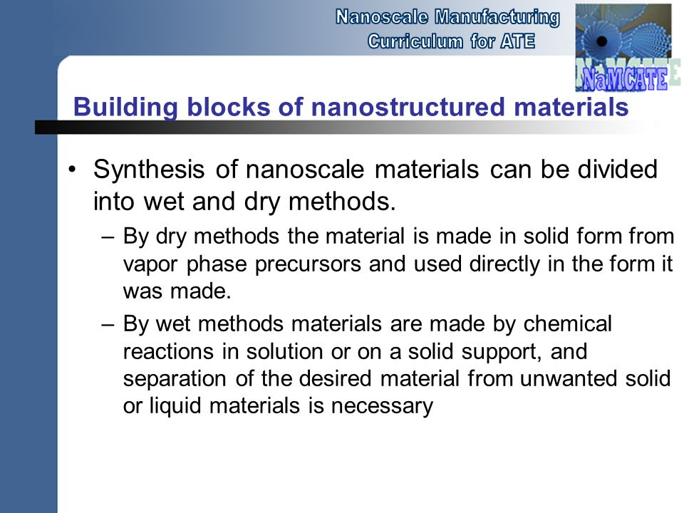 Building blocks of nanostructured materials