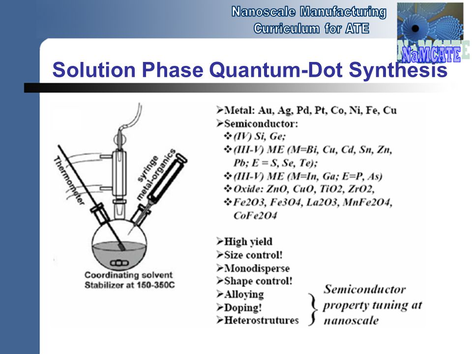 Solution Phase Quantum-Dot Synthesis