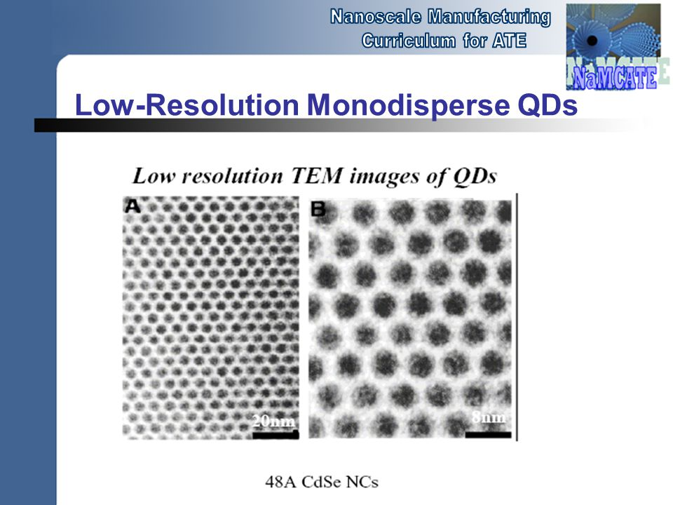 Low-Resolution Monodisperse QDs