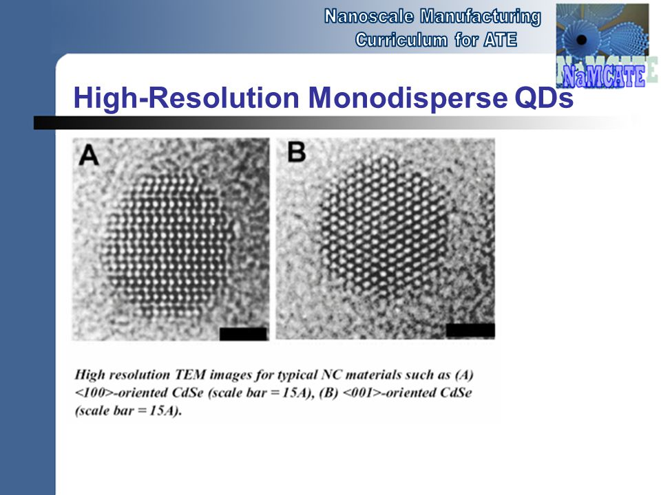 High-Resolution Monodisperse QDs