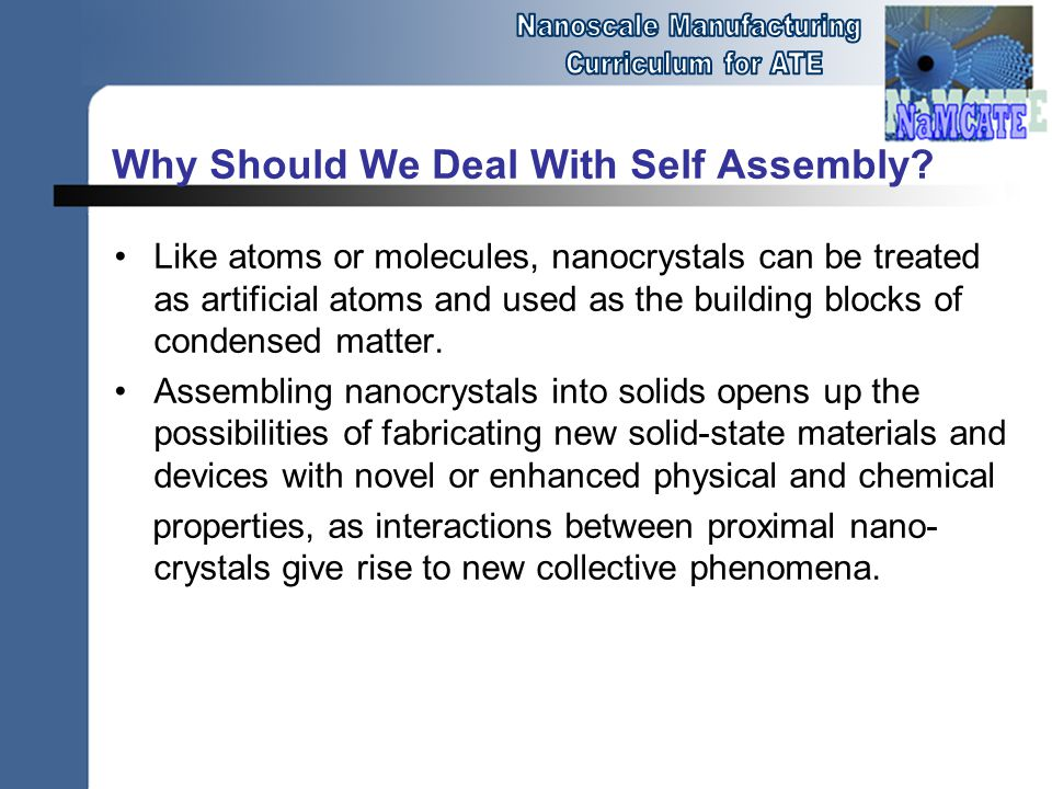 Why Should We Deal With Self Assembly