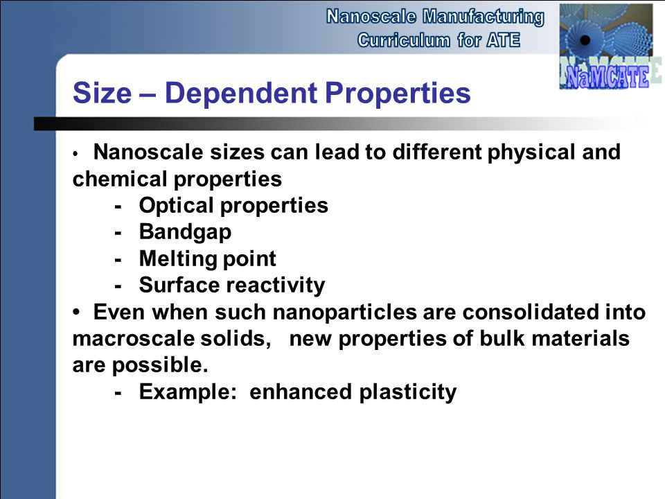 Size – Dependent Properties