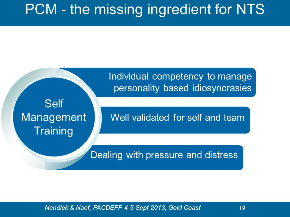 PCM - the missing ingredient for NTS