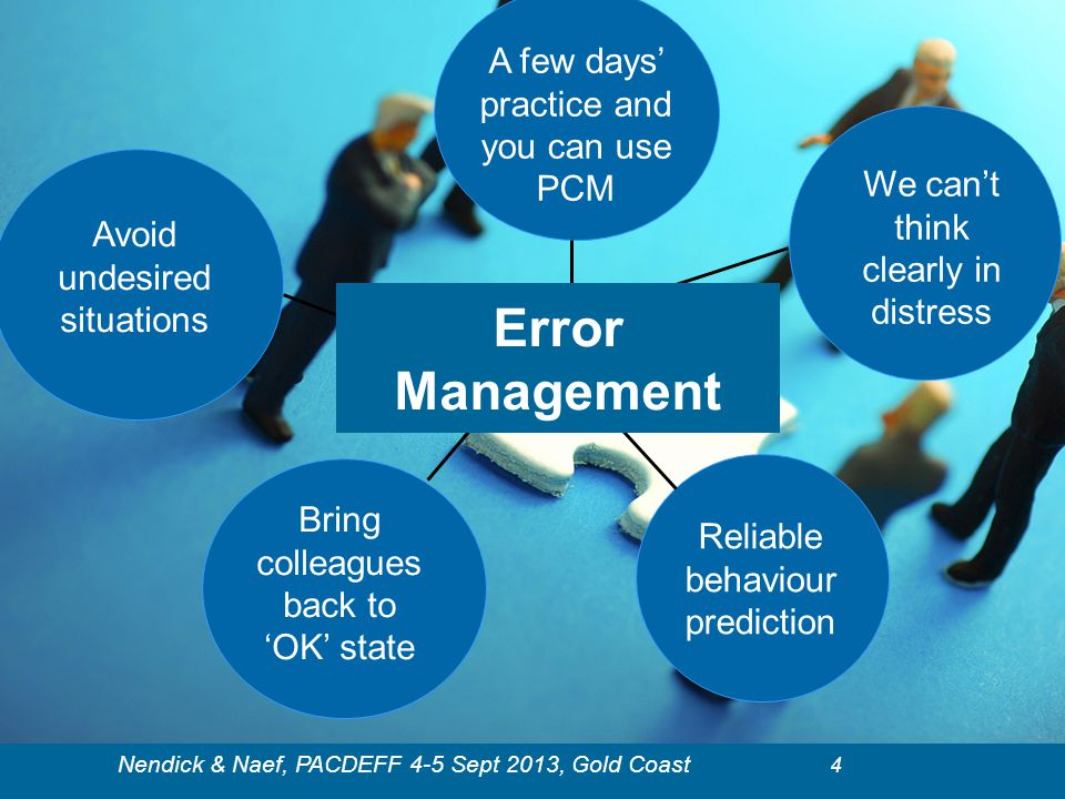 Error Management A few days' practice and you can use PCM