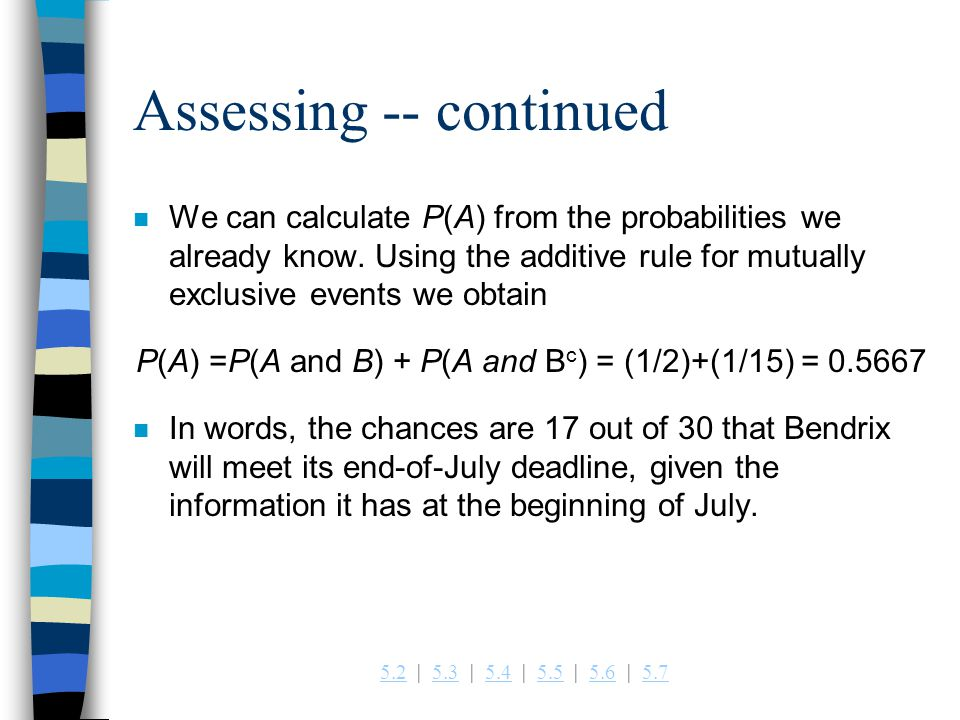 Assessing -- continued
