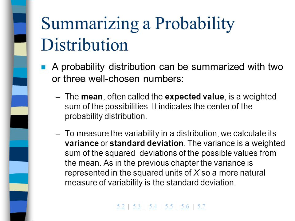Summarizing a Probability Distribution