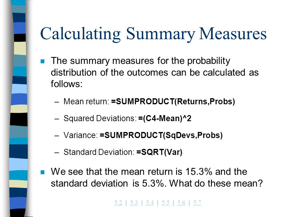 Calculating Summary Measures