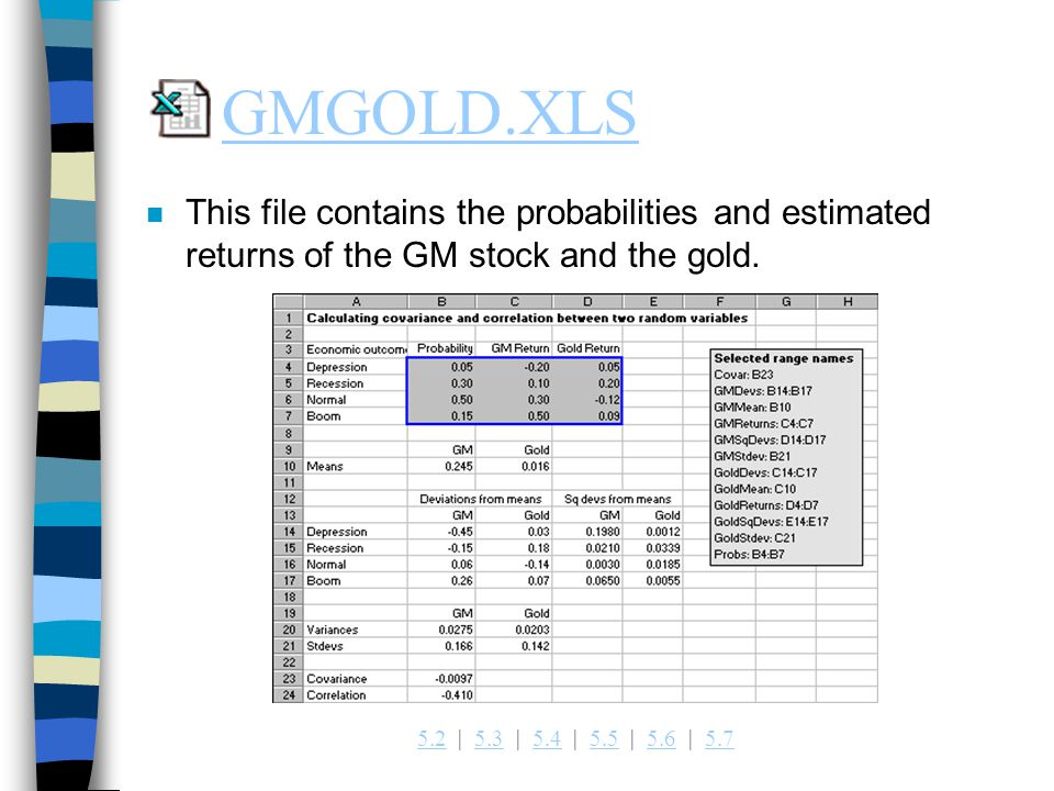 GMGOLD.XLS This file contains the probabilities and estimated returns of the GM stock and the gold.