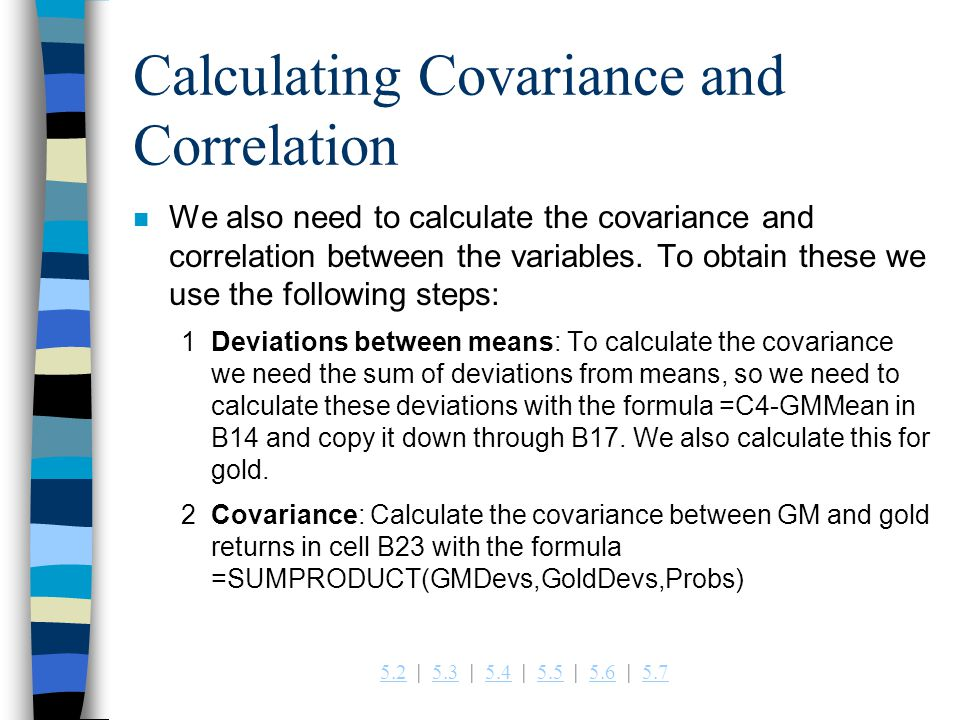 Calculating Covariance and Correlation