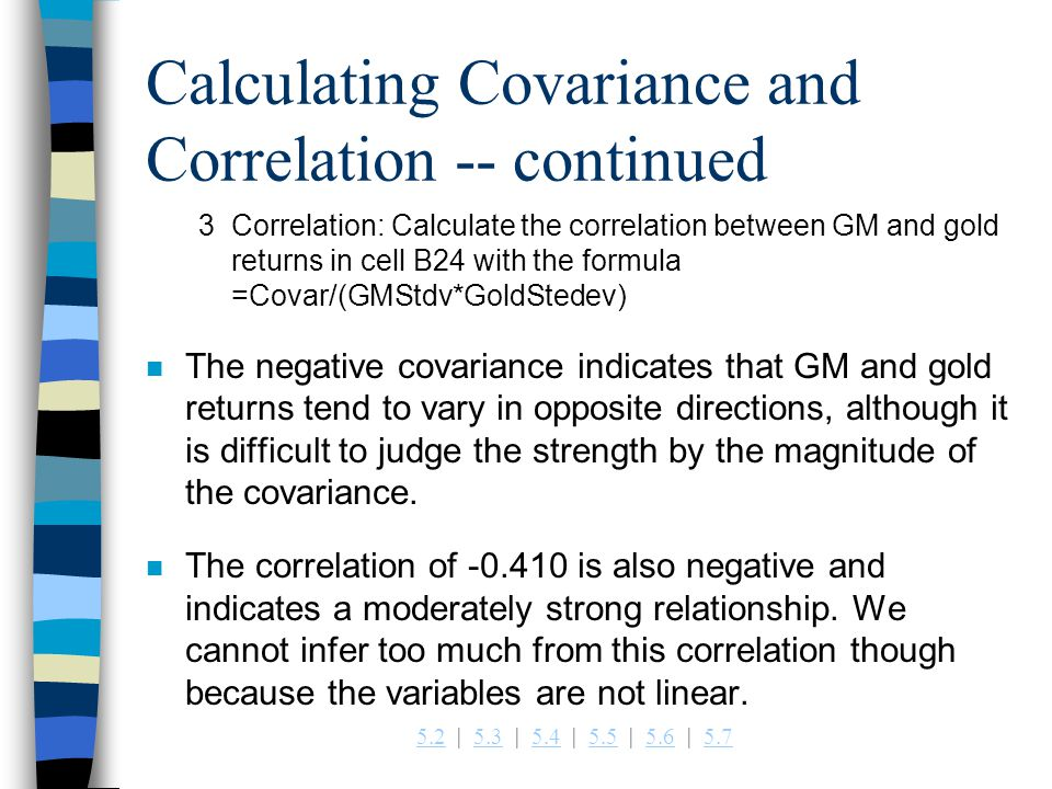 Calculating Covariance and Correlation -- continued