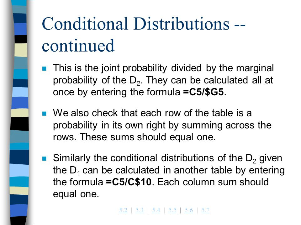 Conditional Distributions -- continued