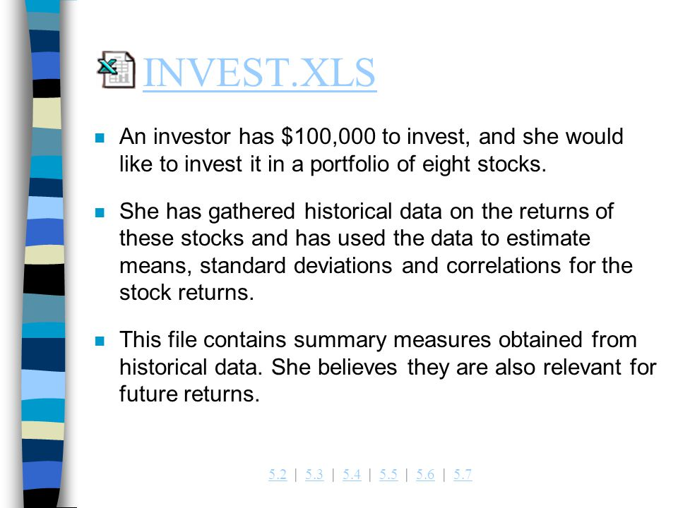 INVEST.XLS An investor has $100,000 to invest, and she would like to invest it in a portfolio of eight stocks.