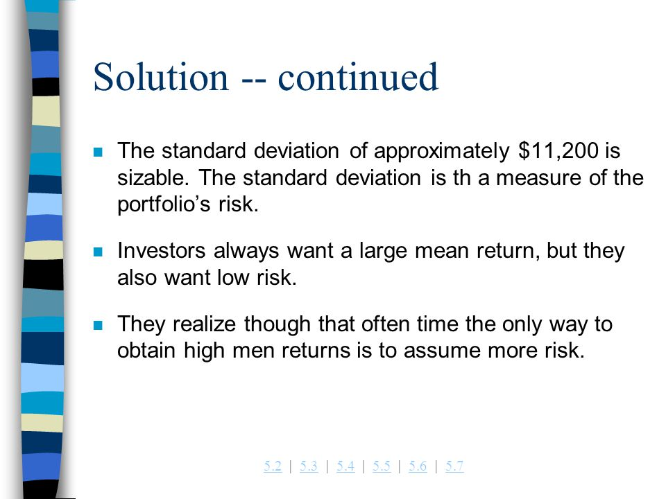 Solution -- continued The standard deviation of approximately $11,200 is sizable. The standard deviation is th a measure of the portfolio's risk.