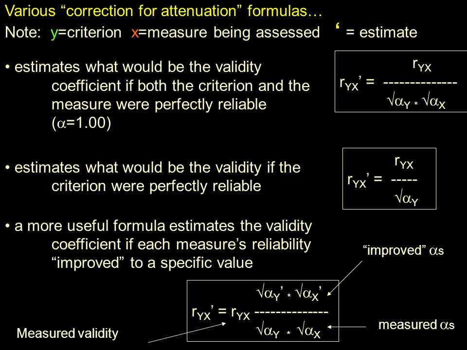 Various correction for attenuation formulas…