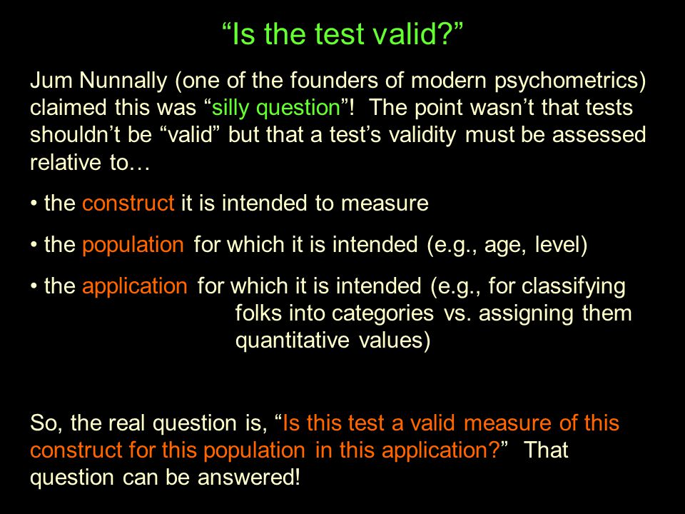 Is the test valid
